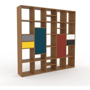 Wohnwand Eiche - Individuelle Designer-Regalwand: Schubladen in Grau & Türen in Blau - Hochwertige Materialien - 195 x 195 x 35 cm, Konfigurator