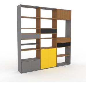 Wohnwand Grau - Individuelle Designer-Regalwand: Schubladen in Grau & Türen in Grau - Hochwertige Materialien - 226 x 233 x 35 cm, Konfigurator