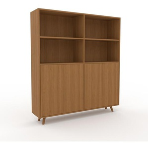 Wohnwand Eiche - Individuelle Designer-Regalwand: Türen in Eiche - Hochwertige Materialien - 152 x 168 x 35 cm, Konfigurator