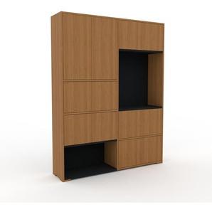 Wohnwand Eiche - Individuelle Designer-Regalwand: Türen in Eiche - Hochwertige Materialien - 152 x 196 x 35 cm, Konfigurator