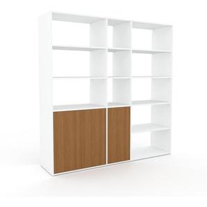 Wohnwand Weiß - Individuelle Designer-Regalwand: Türen in Eiche - Hochwertige Materialien - 190 x 195 x 47 cm, Konfigurator