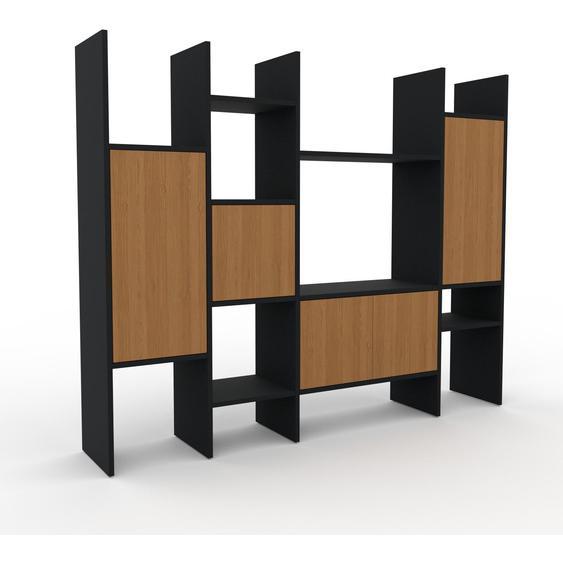 Wohnwand Eiche - Individuelle Designer-Regalwand: Türen in Eiche - Hochwertige Materialien - 193 x 157 x 35 cm, Konfigurator