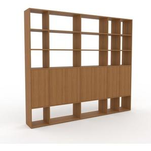 Wohnwand Eiche - Individuelle Designer-Regalwand: Türen in Eiche - Hochwertige Materialien - 267 x 233 x 35 cm, Konfigurator