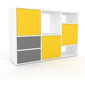 Wohnwand Weiß - Individuelle Designer-Regalwand: Schubladen in Grau & Türen in Gelb - Hochwertige Materialien - 118 x 80 x 35 cm, Konfigurator