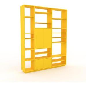 Wohnwand Gelb - Individuelle Designer-Regalwand: Türen in Gelb - Hochwertige Materialien - 190 x 239 x 35 cm, Konfigurator
