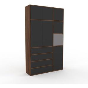 Wohnwand Nussbaum - Individuelle Designer-Regalwand: Schubladen in Anthrazit & Türen in Anthrazit - Hochwertige Materialien - 116 x 195 x 35 cm, Konfigurator