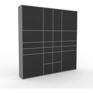 Wohnwand Grau - Individuelle Designer-Regalwand: Schubladen in Anthrazit & Türen in Anthrazit - Hochwertige Materialien - 229 x 233 x 35 cm, Konfigurator