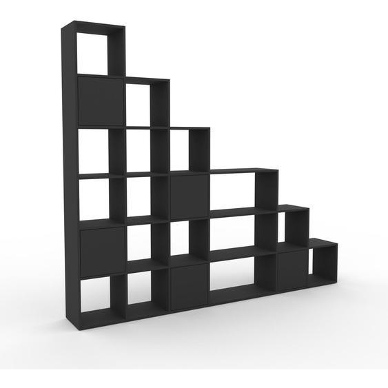 Wohnwand Graphitgrau - Individuelle Designer-Regalwand: Türen in Graphitgrau - Hochwertige Materialien - 270 x 233 x 35 cm, Konfigurator