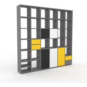 Wohnwand Grau - Individuelle Designer-Regalwand: Schubladen in Gelb & Türen in Anthrazit - Hochwertige Materialien - 233 x 235 x 35 cm, Konfigurator