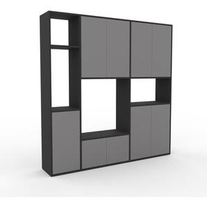 Wohnwand Anthrazit - Individuelle Designer-Regalwand: Türen in Grau - Hochwertige Materialien - 190 x 195 x 35 cm, Konfigurator