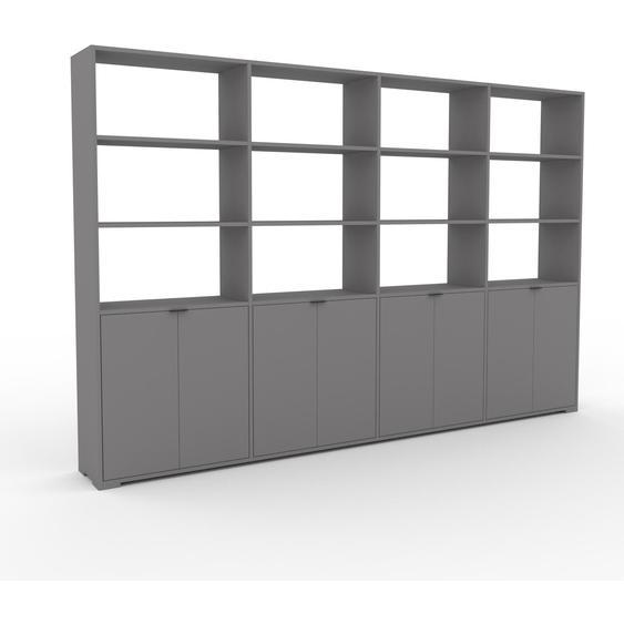 Wohnwand Grau - Individuelle Designer-Regalwand: Türen in Grau - Hochwertige Materialien - 301 x 196 x 35 cm, Konfigurator