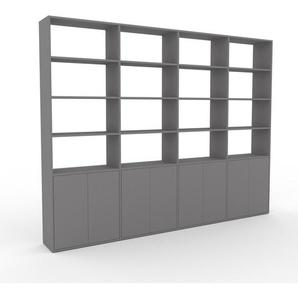 Wohnwand Grau - Individuelle Designer-Regalwand: Türen in Grau - Hochwertige Materialien - 301 x 233 x 35 cm, Konfigurator