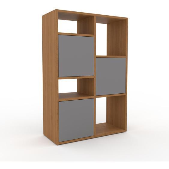 Wohnwand Grau - Individuelle Designer-Regalwand: Türen in Grau - Hochwertige Materialien - 79 x 118 x 35 cm, Konfigurator