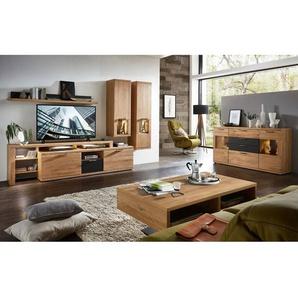 Wohnzimmer Komplett Set BOZEN-36 inkl LED-Beleuchtung Wildeiche Massivholzfront mit Sideboard & Couchtisch