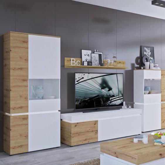 Wohnwand Luci, (Set, 4 tlg.) Einheitsgröße weiß Moderne Wohnwände Wohnzimmer Kastenmöbel-Sets Unisex