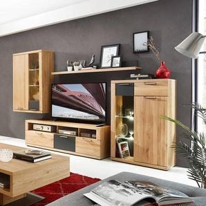 Wohnwand mit Hänge- und Standvitrine Wildeiche mit graphit BOZEN-36 B x H x T ca. 320 x 199 x 48 cm
