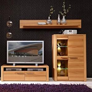 TV-Wohnwand mit Vitrine inkl. LED Beleuchtung 3DAWSON-36 Kernbuche Massivholz Fronten, B x H x T ca.: 235 x 165 x 45 cm