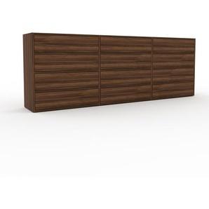 Wohnwand Nussbaum - Individuelle Designer-Regalwand: Schubladen in Nussbaum - Hochwertige Materialien - 226 x 80 x 35 cm, Konfigurator