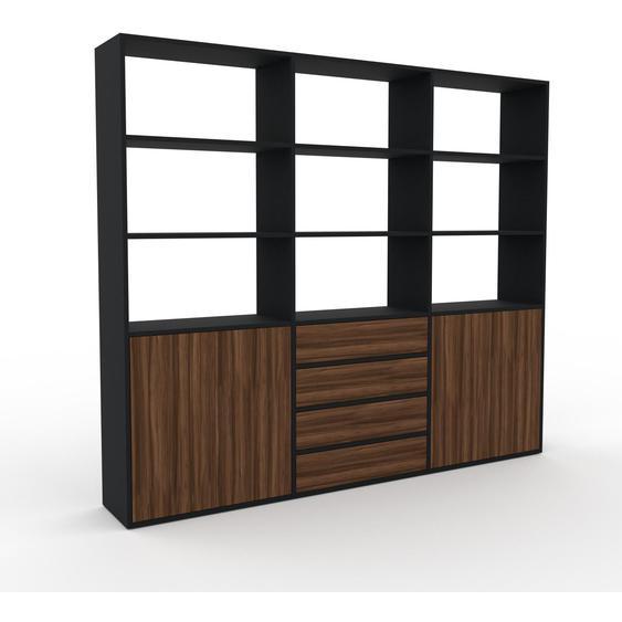 Wohnwand Nussbaum - Individuelle Designer-Regalwand: Schubladen in Nussbaum & Türen in Nussbaum - Hochwertige Materialien - 226 x 195 x 35 cm, Konfigurator