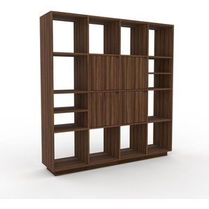 Wohnwand Nussbaum - Individuelle Designer-Regalwand: Türen in Nussbaum - Hochwertige Materialien - 156 x 162 x 35 cm, Konfigurator