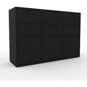 Wohnwand Schwarz - Individuelle Designer-Regalwand: Schubladen in Schwarz & Türen in Schwarz - Hochwertige Materialien - 118 x 80 x 35 cm, Konfigurator