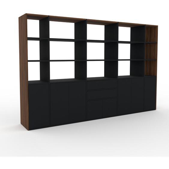 Wohnwand Schwarz - Individuelle Designer-Regalwand: Schubladen in Schwarz & Türen in Schwarz - Hochwertige Materialien - 303 x 195 x 47 cm, Konfigurator