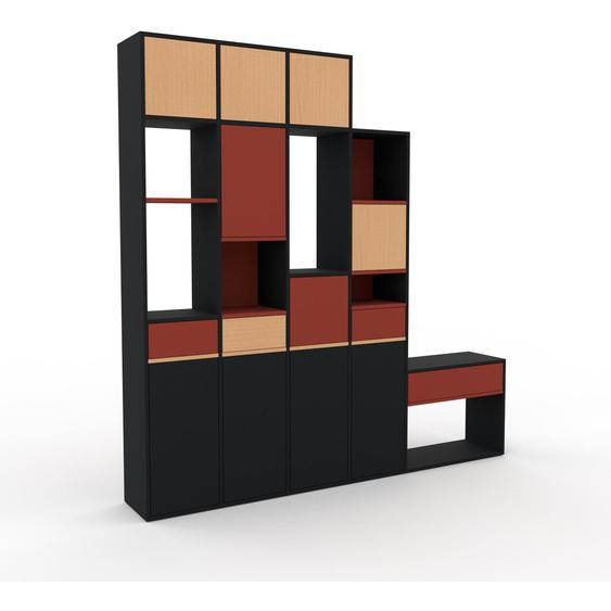 Wohnwand Schwarz - Individuelle Designer-Regalwand: Schubladen in Terrakotta & Türen in Schwarz - Hochwertige Materialien - 231 x 233 x 35 cm, Konfigurator