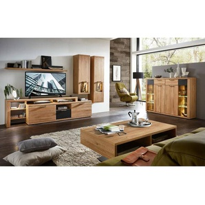 Wohnzimmer Wohnwand Wildeiche Front Massivholz 7tlg BOZEN-36 inkl. Highboard und Couchtisch