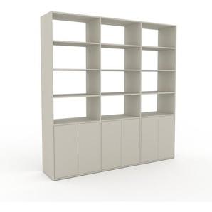 Wohnwand Sandgrau - Individuelle Designer-Regalwand: Türen in Sandgrau - Hochwertige Materialien - 226 x 233 x 47 cm, Konfigurator