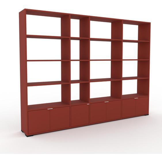 Wohnwand Terrakotta - Individuelle Designer-Regalwand: Türen in Terrakotta - Hochwertige Materialien - 265 x 196 x 35 cm, Konfigurator