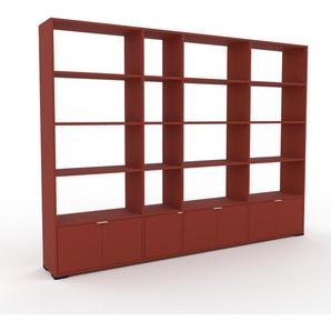 Wohnwand Rot - Individuelle Designer-Regalwand: Türen in Rot - Hochwertige Materialien - 265 x 196 x 35 cm, Konfigurator