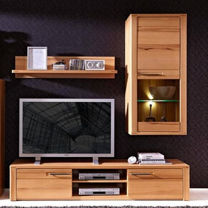 Wohnwand TV Anbauwand Kernbuche Massivholz DAWSON-36 TV-Unterteil Hängevitrine, B x H x T ca.: 190 x 194 x 45 cm