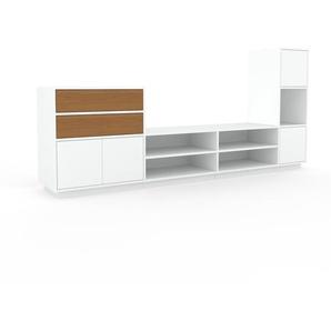 Wohnwand Weiß - Individuelle Designer-Regalwand: Schubladen in Eiche & Türen in Weiß - Hochwertige Materialien - 265 x 124 x 47 cm, Konfigurator