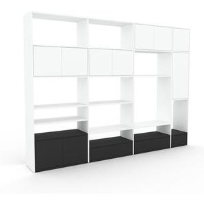 Wohnwand Weiß - Individuelle Designer-Regalwand: Schubladen in Anthrazit & Türen in Weiß - Hochwertige Materialien - 265 x 195 x 35 cm, Konfigurator