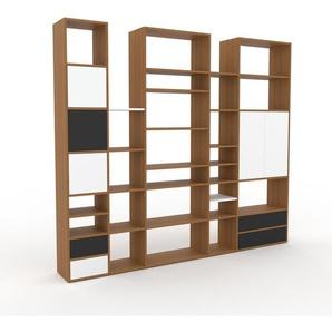 Wohnwand Eiche - Individuelle Designer-Regalwand: Schubladen in Anthrazit & Türen in Weiß - Hochwertige Materialien - 267 x 233 x 35 cm, Konfigurator