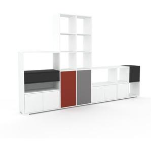 Wohnwand Weiß - Individuelle Designer-Regalwand: Schubladen in Anthrazit & Türen in Weiß - Hochwertige Materialien - 306 x 196 x 35 cm, Konfigurator