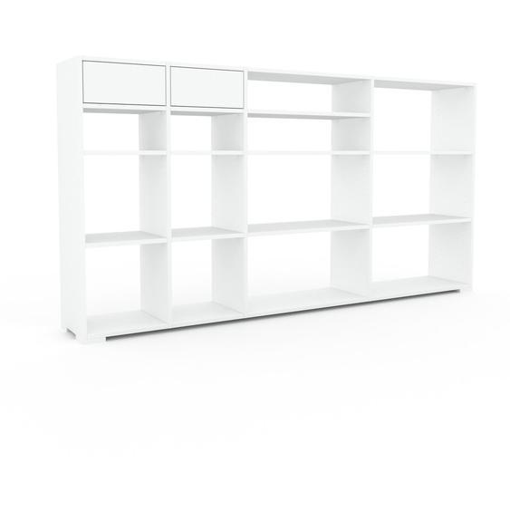 Wohnwand Weiß - Individuelle Designer-Regalwand: Schubladen in Weiß - Hochwertige Materialien - 229 x 120 x 35 cm, Konfigurator