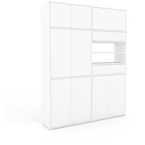 Wohnwand Weiß - Individuelle Designer-Regalwand: Schubladen in Weiß & Türen in Weiß - Hochwertige Materialien - 152 x 195 x 35 cm, Konfigurator