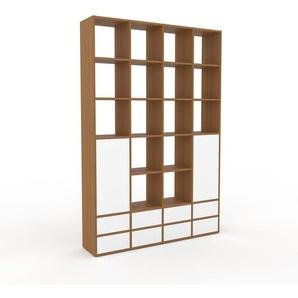 Wohnwand Eiche - Individuelle Designer-Regalwand: Schubladen in Weiß & Türen in Weiß - Hochwertige Materialien - 156 x 233 x 35 cm, Konfigurator
