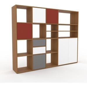 Wohnwand Eiche - Individuelle Designer-Regalwand: Schubladen in Weiß & Türen in Weiß - Hochwertige Materialien - 193 x 157 x 35 cm, Konfigurator