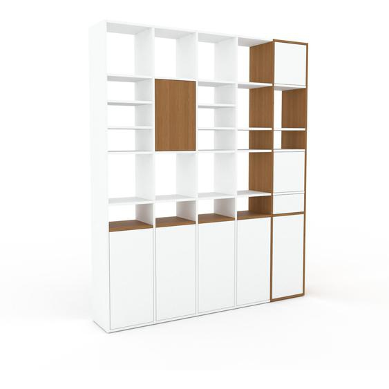 Wohnwand Weiß - Individuelle Designer-Regalwand: Schubladen in Weiß & Türen in Weiß - Hochwertige Materialien - 195 x 233 x 35 cm, Konfigurator