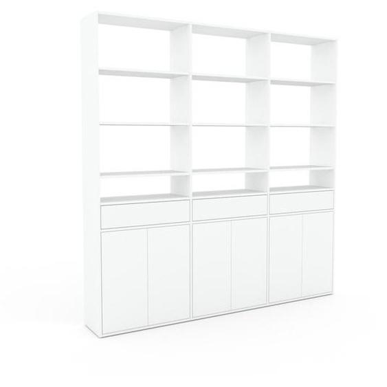 Wohnwand Weiß - Individuelle Designer-Regalwand: Schubladen in Weiß & Türen in Weiß - Hochwertige Materialien - 226 x 233 x 35 cm, Konfigurator