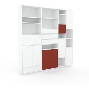 Wohnwand Weiß - Individuelle Designer-Regalwand: Schubladen in Weiß & Türen in Weiß - Hochwertige Materialien - 229 x 239 x 35 cm, Konfigurator