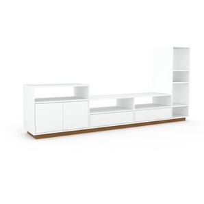 Wohnwand Weiß - Individuelle Designer-Regalwand: Schubladen in Weiß & Türen in Weiß - Hochwertige Materialien - 265 x 124 x 47 cm, Konfigurator