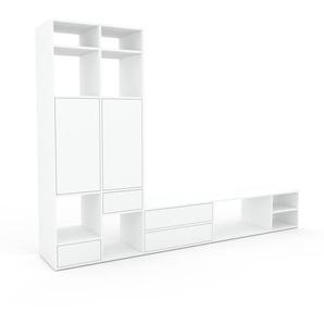 Wohnwand Weiß - Individuelle Designer-Regalwand: Schubladen in Weiß & Türen in Weiß - Hochwertige Materialien - 267 x 195 x 47 cm, Konfigurator