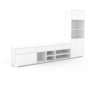 Wohnwand Weiß - Individuelle Designer-Regalwand: Schubladen in Weiß & Türen in Weiß - Hochwertige Materialien - 303 x 196 x 47 cm, Konfigurator