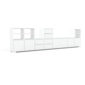 Wohnwand Weiß - Individuelle Designer-Regalwand: Schubladen in Weiß & Türen in Weiß - Hochwertige Materialien - 308 x 81 x 35 cm, Konfigurator