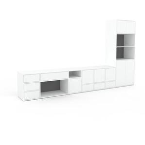 Wohnwand Weiß - Individuelle Designer-Regalwand: Schubladen in Weiß & Türen in Weiß - Hochwertige Materialien - 344 x 195 x 47 cm, Konfigurator