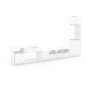Wohnwand Weiß - Individuelle Designer-Regalwand: Schubladen in Weiß & Türen in Weiß - Hochwertige Materialien - 344 x 200 x 47 cm, Konfigurator