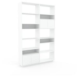 Wohnwand Weiß - Individuelle Designer-Regalwand: Türen in Weiß - Hochwertige Materialien - 152 x 239 x 35 cm, Konfigurator